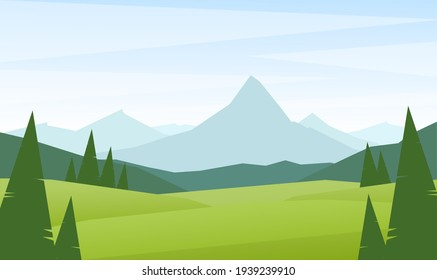 Vector Flat Summer Mountains landscape with green hills and pines.