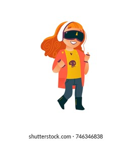 vector flat teen girl in casual dress using virtual or augmented reality simulating glasses. Isolated illustration on a white background. Teenagers and modern digital visual technology concept