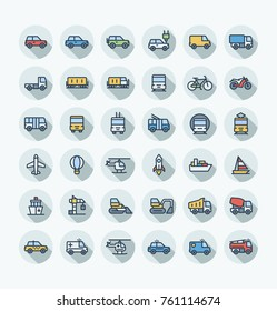 Vector flat thin line icons set, graphic design elements. Illustration with public transport, cars outline symbols. Electric auto, minivan, truck, train, bicycle, bus, metro, airplane color pictogram