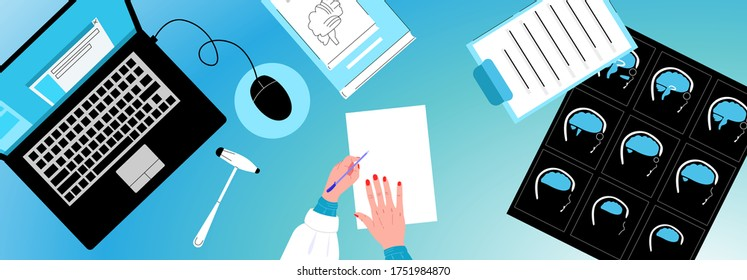 Vector flat top view doctors neurologists desktop. There are MRI items, laptop, hammer, empty piece of paper, hands that write, textbook on neurology. You can use it for web design, landing pages, etc