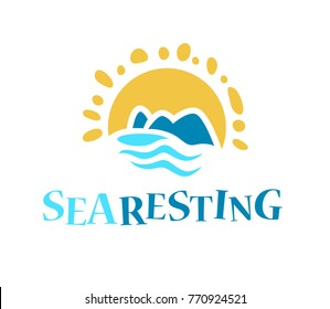Vector flat touristic company logo design isolated on white background. Travel agency emblem sign. Blue water wave symol, icon. Sea tours logotype. Ocean cruise.