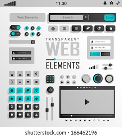 Vector flat transparent Web, mobile Elements, icons. Buttons and Label