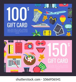 Vector flat travel elements discount or gift card voucher templates illustration