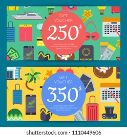 Vector flat travel elements discount or gift card voucher templates. Illustration of coupon discount travel trip, gift certificate tourism