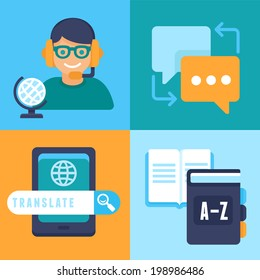 VEctor flat trendy icons - translation and foreign languages - studying and interpretation