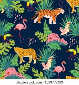 Vector flat tropical seamless pattern with hand drawn jungle plants and elements, animals, birds isolated. Toucan, flamingo, tiger. For packaging paper, cards, wallpapers, gift tags, nursery decor etc