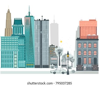 Vector flat urban landscape background design template. Illustration building modern skyscaper business office apartment, construction architecture, residental cottage ,car streetlight bench billboard