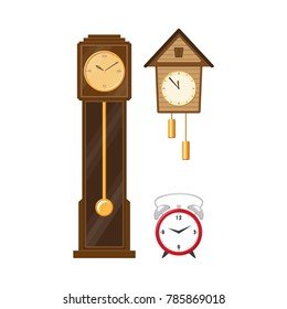 vector flat vintage wall mounted Cuckoo-clock alarm clock, vintage grandfather clock and modern table alarm analog clock icon for your design. Isolated illustration on a white background.