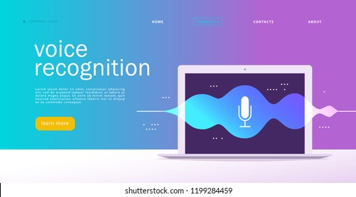 Vector flat voice recognition illustration. Landing page design. Laptop screen with sound waves and microphone dynamic icon. UI, UX, mobile app, web site concept template for personal online assistant