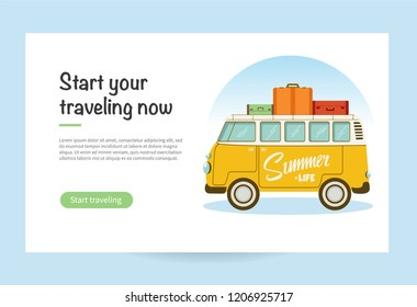 Vector flat web banner with a retro travel van with bag on roof. Road trip, adventure, trailering, camping, adventures, vacation. SUV and trailer. EPS 10