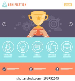 Vector flat webpage template - with header, image slider and outline icons