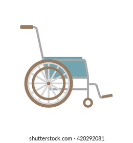 Vector flat wheelchair icon on white background