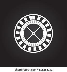 Vector flat white casino roulette wheel icon on dark background