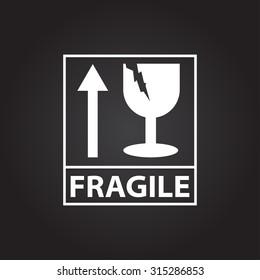 Vector flat white fragile icon on dark background