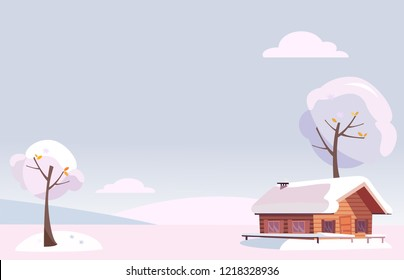 Vector flat white snowy winter landscape with small country house and snow covered trees on the snow-covered hills in the snowing woods. xmas background in cartoon style. Free space for your text