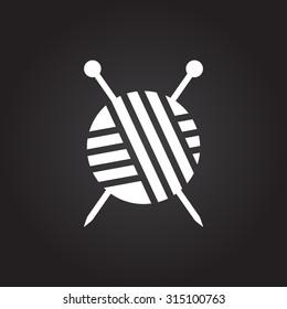 Vector flat white tailor ravel ball of yarn for knitting icon on dark background