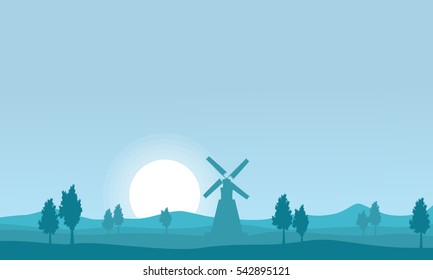 Vector flat of windmill on farm silhouettes