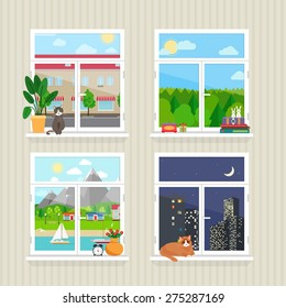 Vector flat windows with landscape. Town and skyscraper, forest and cat, day and night