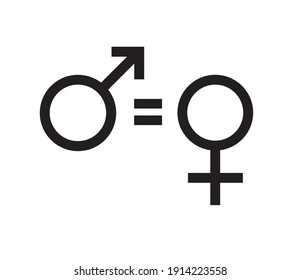 Vector flat woman equality sign isolated on white background. Feminist woman rights illustration