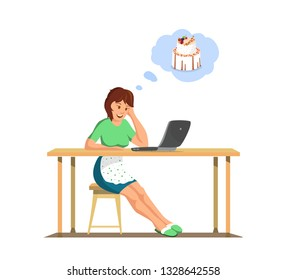 Vector Flat Woman Thinks about Cake. Housewife Laptop Watching Online Cooking Courses.