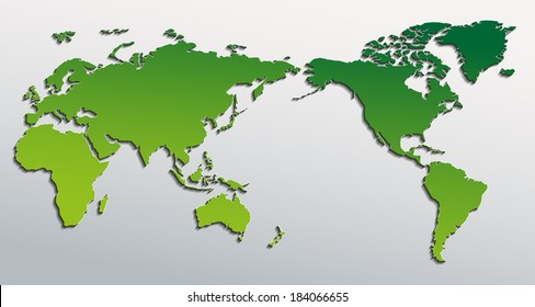 Vector flat world map with pacific ocean. Planet Earth background. All the continents of the world in one picture
