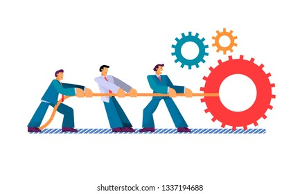 Vector Flat Young Man Pulls Rope. Businessman Holds Cable with Gears Teamwork Company. Joint Efforts Achieve Success Work on Project Go Intended Goal Success in Production and Good Result.