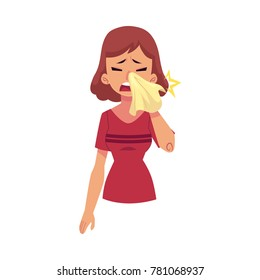 Vector flat young sick girl suffering from rhinitis, holding napkins, facial tissues, blowing her nose, sneezing. Cartoon isolated illustration on a white background. Illness ,disease symptoms concept