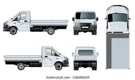 Vector flatbed truck template isolated on white for car branding and advertising. Available EPS-10 separated by groups and layers with transparency effects for one-click repaint.