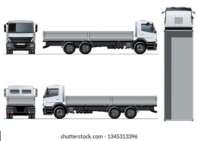 Vector flatbed truck template isolated on white for car branding and advertising. Available EPS-10 separated by groups and layers with transparency effects for one-click recolour.