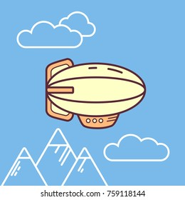 Vector flate linear cute little airchip flyin under mountains in the sky with clouds. Zeppelin, icon style. Bright color