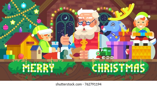 Vector flat-styled Christmas illustration of Santa Claus in a workshop with elves, deer and gifts card