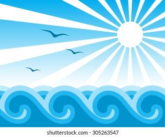 vector flock of birds flying over sea