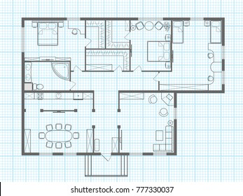 Vector floor plan outline of house on a background of millimeter paper. Professional house layout and furniture. Top view. Illustration  in the form of sketch drawing.