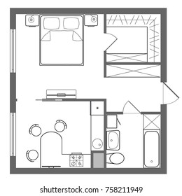Vector floor plan studio apartment. Professional house placement furniture. With bedroom, kitchen, dressing room, toilet. Illustration of the architectural solution of a one-room apartment interior