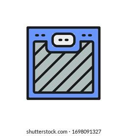 Vector floor scales flat color line icon.