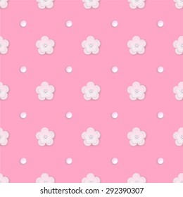 Vector Floral 3d Paper Sakura Seamless romantic Pattern Background