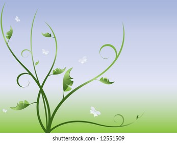 vector floral abstract background with plants and butterflies