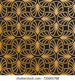 Vector Floral Art Nouveau Pattern. Geometric decorative leaves texture. Golden Retro stylish background.