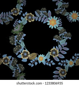 Vector floral art for textile, wallpaper, pattern fills, covers, surface, print, gift wrap. Seamless pattern in small cute flowers of lovely abstract elements in black, blue and gray flowers.