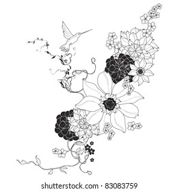 Vector floral background black and white