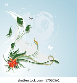 Vector floral background with butterfly's