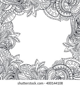 Vector floral background with hand made pattern. Doodles. Outline.