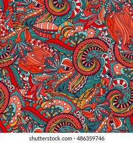 Vector floral background with hand made pattern.