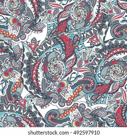 Vector floral background with hand made pattern. Doodles.