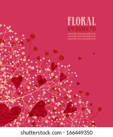 Vector floral background with hearts