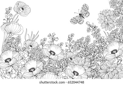 vector floral background ,page for coloring.a monochrome pattern of flowers and butterflies/