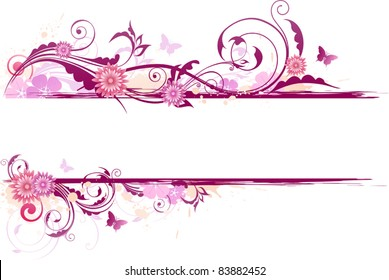 vector floral background with red flowers and ornament