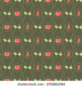 Vector floral background with roses.
