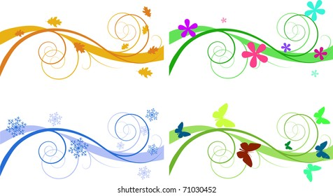 Vector floral backgrounds for banners of different seasons