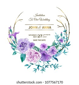 Vector floral background.Wedding card with frame. Flowers botanical drawing in watercolor style. Floral bunch Petunia, peony pink Rose purple, lilac, leaves,greenery.